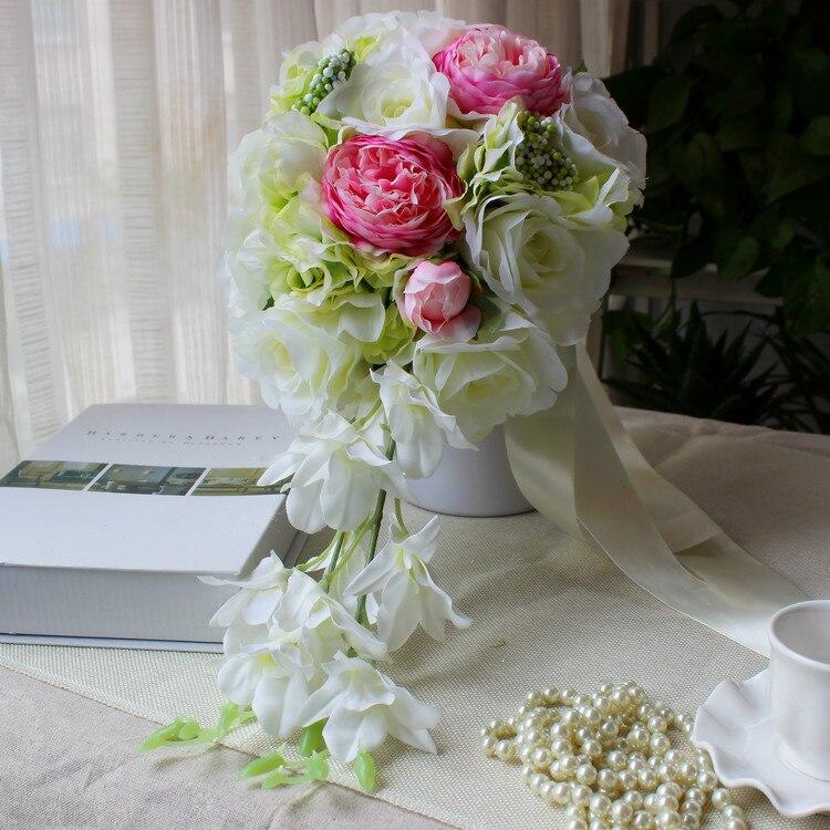 Fleurs De Mariage cascade Bouquets De mariée Bouquets De Mariage artificiels Rose pivoine Rose pivoine pourpre ivoire Rose