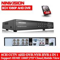 Домашняя система Скрытого видеонаблюдения цифровой видеорегистратор 8CH ONVIF IP видеокамера H.264 P2P AHD DVR для 1080 P AHD камера IP сети Гибридный HDMI 1080 P