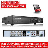 AHD NH CCTV DVR 8CH ONVIF Ip Camera Recorder H 264 P2P AHD DVR For 1080P