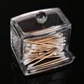 Free Shipping Hotel Supplies Crystal Clear Swab Box Storage Case Spools Organizer T2N2