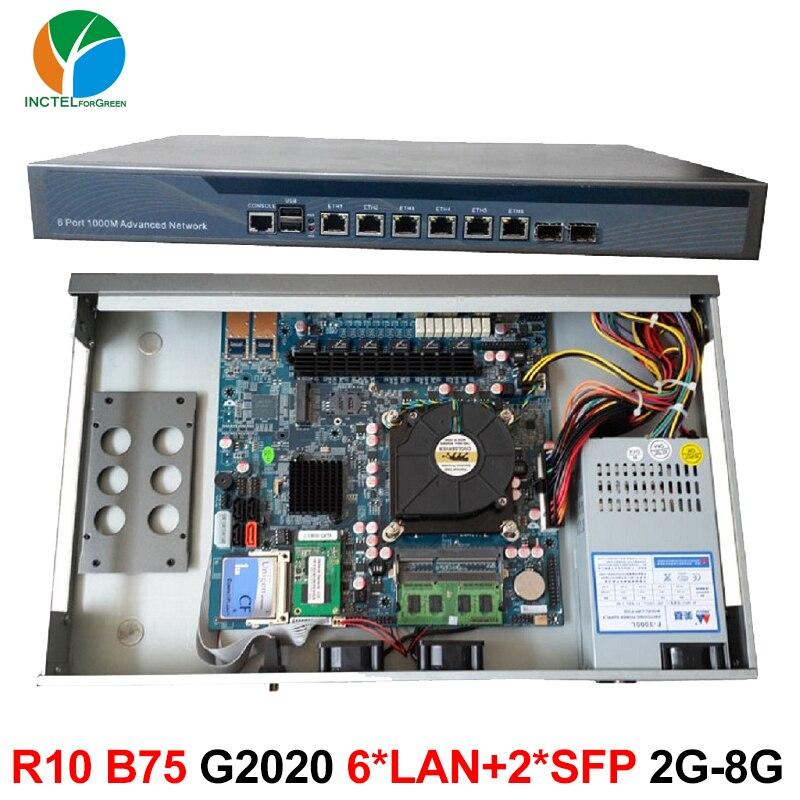 Intel Pentium G2020 2.9G 1U network Firewall router with six intel PCI-E 1000M 82574L Gigabit LAN Mikrotik ROS etc 2G RAM 8G SSD network security solution 1u router with two sfp intel i350 six 82583v gigabit lan intel quad core i7 3770 3 4ghz 2g ram 8g ssd