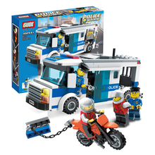 9313 GUDI 204Pcs City Police Prisoner Transport Model Building Blocks Enlighten Action Figure Toys For Children Compatible Legoe
