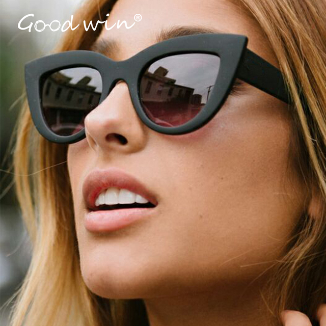 1dc5459128 GOOD WIN Vintage Cat Eye Supreme Sunglasses Quay Style Luxury Brand Black  Pink Coating Shades Mirror oculos de feminino Wrap