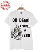 BATCH1 ALICE IN WONDERLAND OH DEAR I SHALL BE LATE WHITE RABBIT UNISEX T-SHIRT New T Shirts Funny Tops Tee New Unisex Funny Tops цена