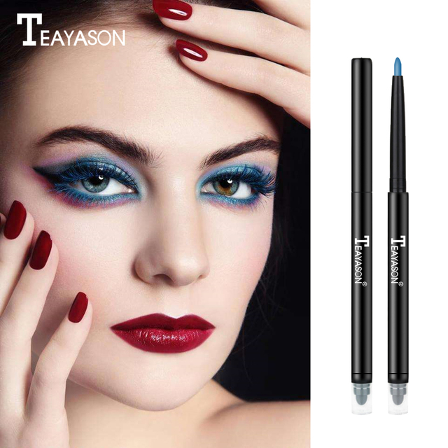 Teayason dual ended eyeliner pencil with sponge 12 color gold glitter eye liner waterproof long lasting matte eyeliner gel AM068 5