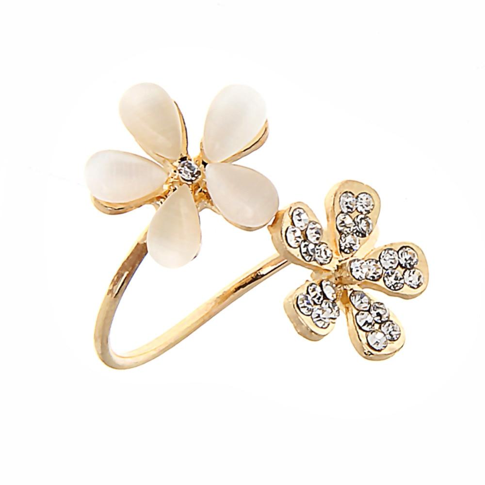 Fashion Women Cute Adjustable Opal Double Daisy Flower Rhinestone
