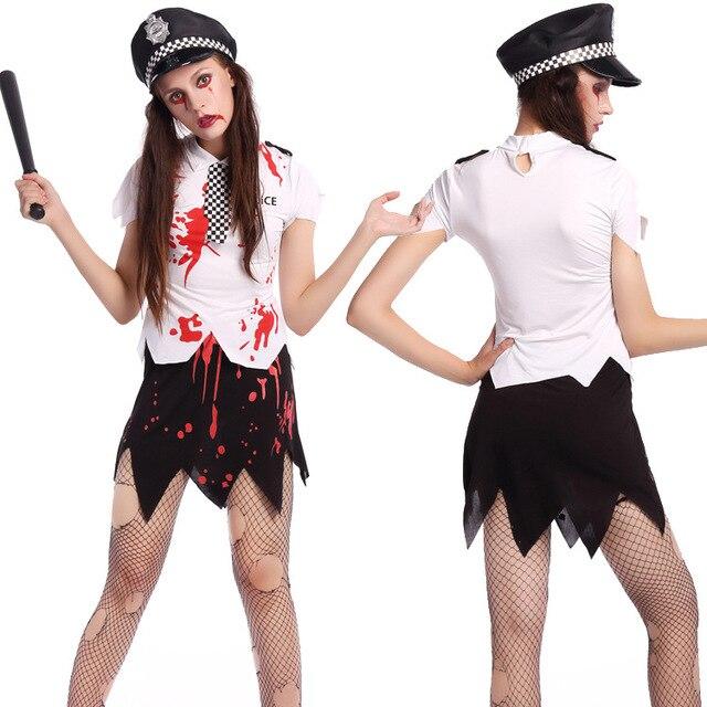 Enge Kostuums Halloween.Us 17 89 7 Off Halloween Zombie Politie Uniform Bloody Politie Vrouwen Uniform Party Kostuums Party Kostuums Enge Kostuums In Halloween Zombie