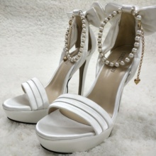 Women Stiletto High Heel Sandal Sexy Pearl Chain Open Toe Platform Bowing Ivory Satin Wedding Bridals Party Lady Shoe 3463SL-f