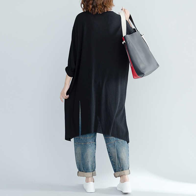 Autunno nuovo 2019 donne lunghe t-shirt nero irregolare più il formato allentato della signora tees tops outwear