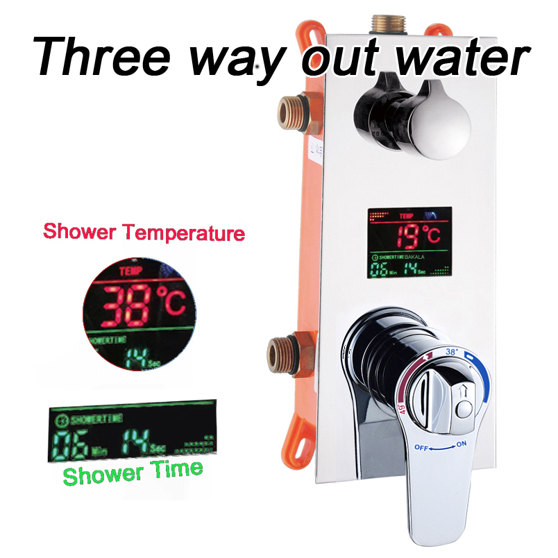 Vanne de commande dissimulée de salle de bains vanne de mélange thermostatique en laiton montage mural d1/2/3 voies panneau de douche contrôleur en acier inoxydable