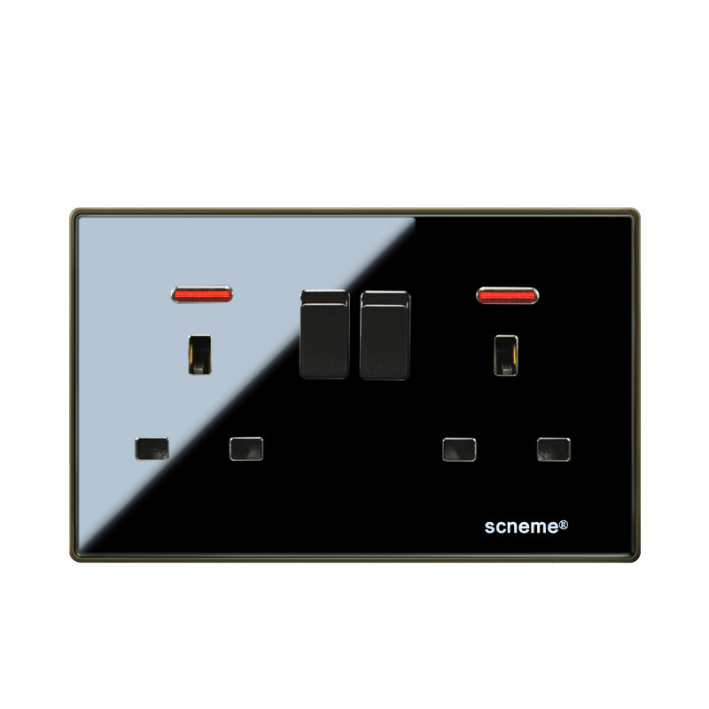 UK Standard 13A Black Color Glossy Crystal Acrylic Wall Plate Double Universal Switched Plug Socket with Neon wallpad luxury double 13 a uk switched socket goats brown leather 1 gang switch and 13a wall socket with neon free shipping
