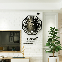 Acrylic Large Slient Wall Clock Modern Design 3D Digit Hanging Clock With Wall Stickers Kitchen Quartz Black Watch Free Shipping