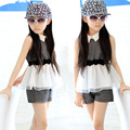 Princesa 2016 Roupa Geral 3-16ages Coreano Conjunto de Roupas Meninas Crianças Arco Camisa Blusa + short Terno 2 pcs Roupa Dos Miúdos conjunto Terno