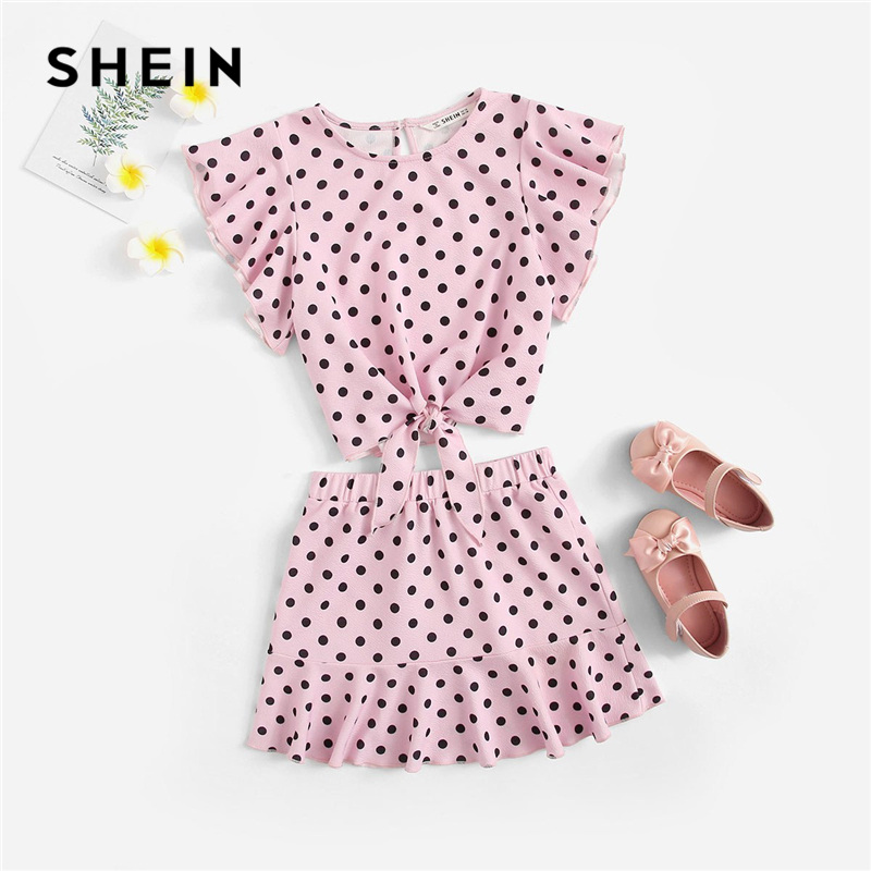 SHEIN Kiddie Pink Keyhole Back Polka Dot Flutter Sleeve Top With Skirt Boho Teenager Girls Clothes 2019 Summer Children Set комбинезон jacob lee jacob lee ja028egjel63