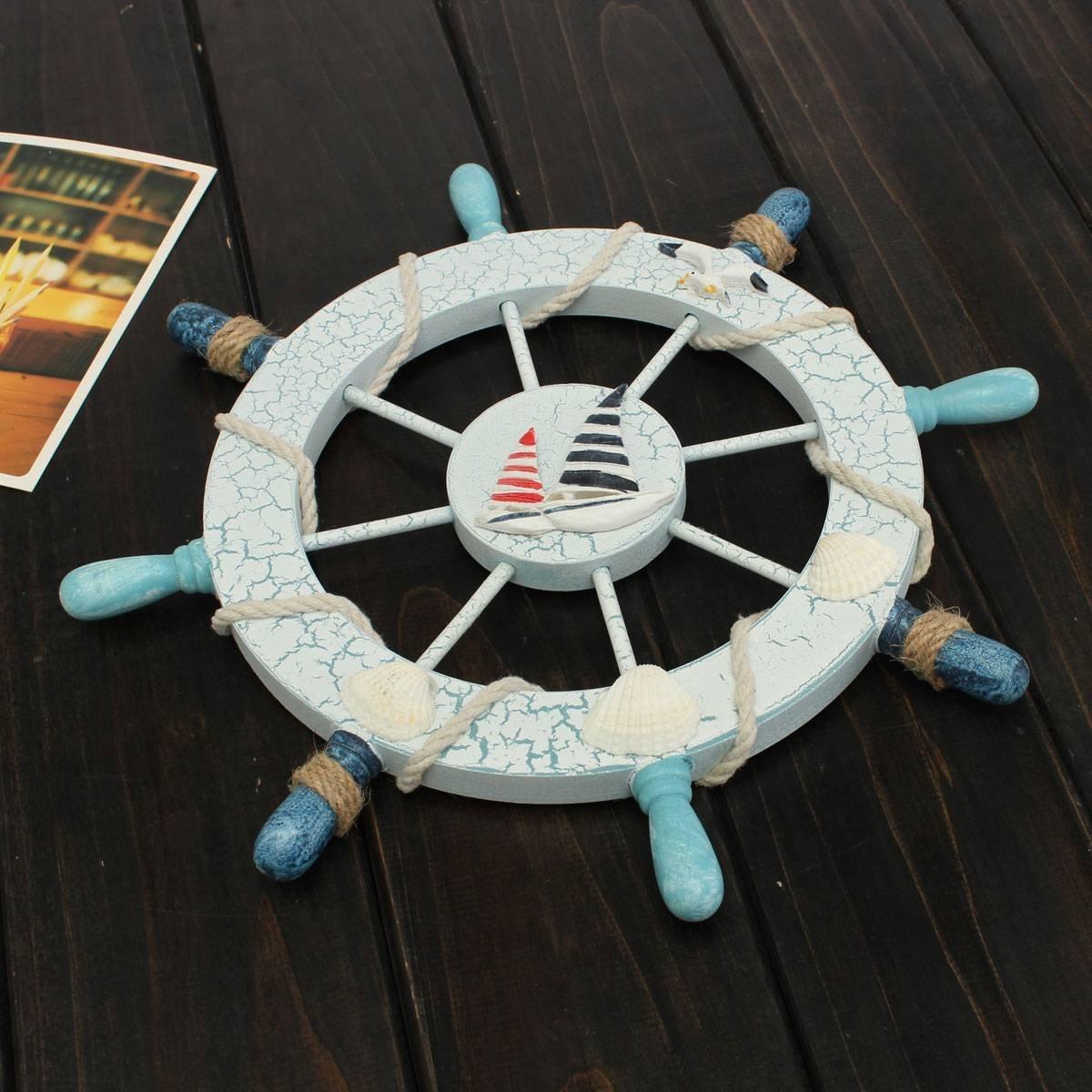Nautical Beach Wooden Boat Ship Steering Wheel Fishing Net Shell Home Wall Decor Sailing Description This