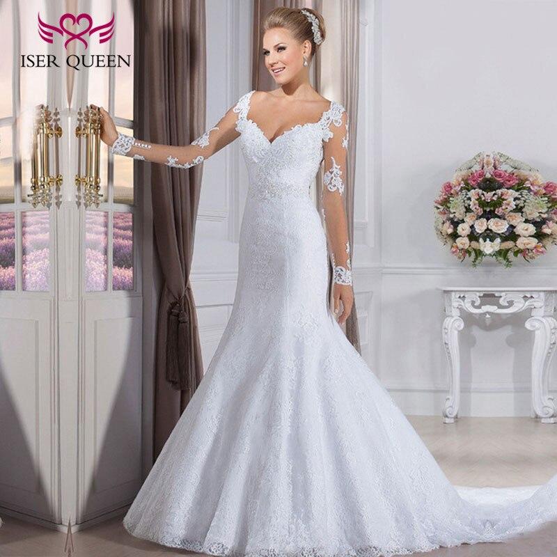 Pearls Beading Sash Bride Dress Long Sleeves Mermaid Wedding Dress 2019  Custom Made Embroidery Mermaid Wedding Gowns W0031
