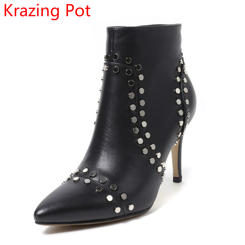 2018 Handmade Pointed Toe Cow Leather Rivets Nightclub European Designer Winter Boots High Heels Stiletto Women Ankle Boots L36