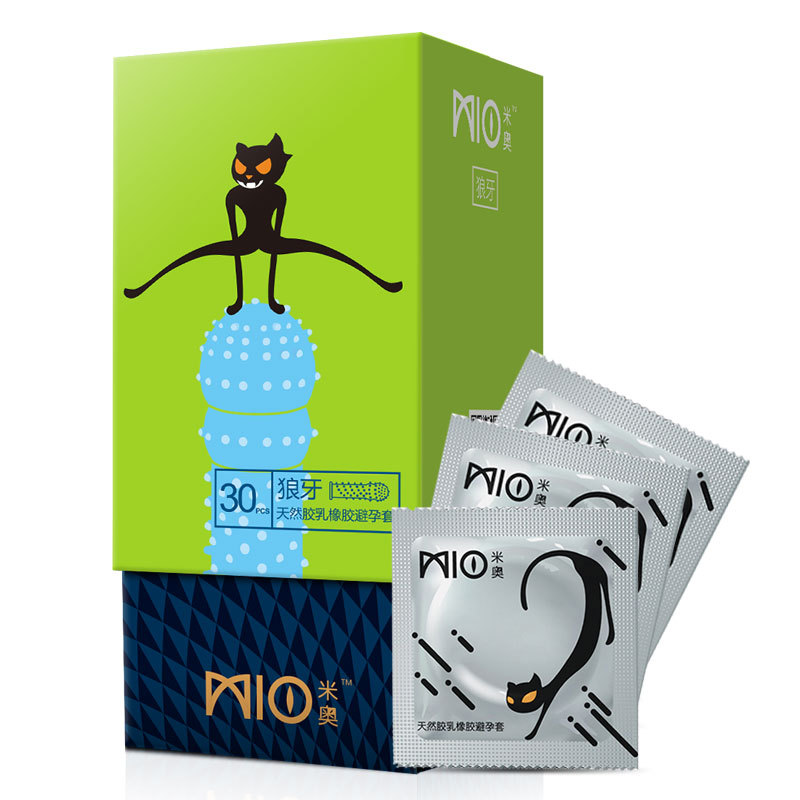 MIO 30PCS G Spot Spike Dotted Ribbed Delay Condoms For Men Mint Scent Condom Intimate Goods Penis Covers for Couple Sex Toys