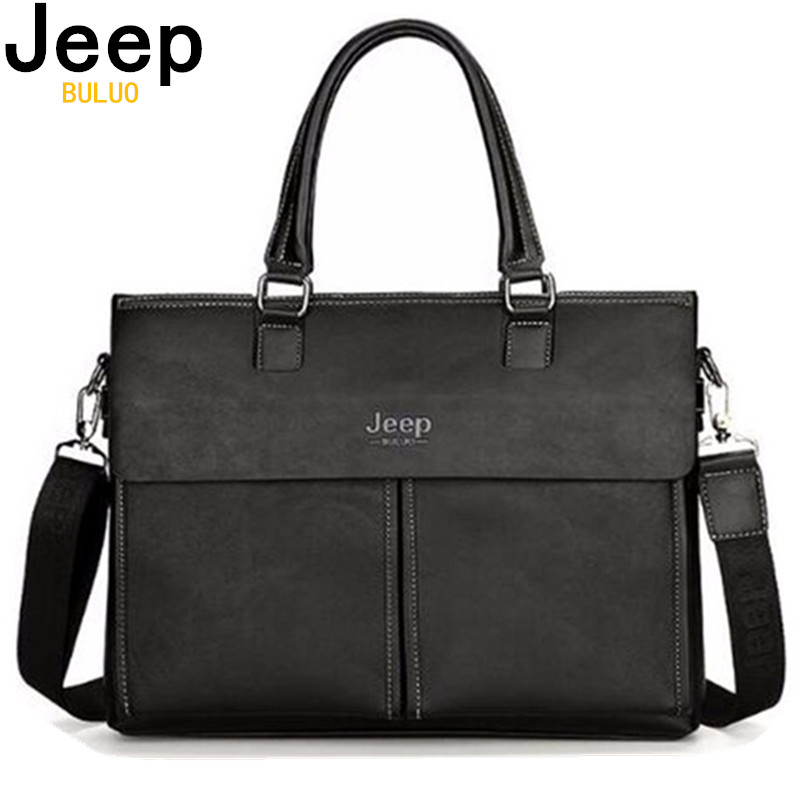 Men Briefcases Jeep Big Brand Business Split Leather Handbag For 14 Inch Laptop Bags Man Travel Briefcase Tote Bag A4 Files