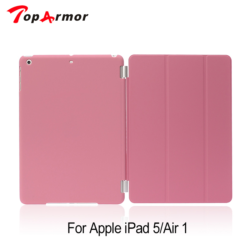 TopArmor Color PU Transparent Back Ultra Slim Light Weight Trifold Smart Cover Case for iPad Air/iPad 5 for ipad mini4 cover high quality soft tpu rubber back case for ipad mini 4 silicone back cover semi transparent case shell skin