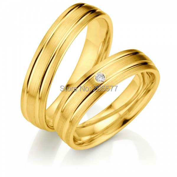 anel ouro 100% Pure Titanium Yellow Gold Plating Engagement Couple his and hers Rings anel de prata his and hers rings white gold plating pure titanium engagement wedding bands rings 2014