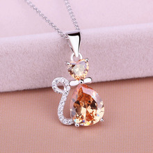 Genuine sterling silver 925 necklace in jewelry lovely cat pendant necklace chain with CZ fashion silver jewelry for women gifts