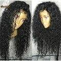 Pelucas Superiores de seda 8A Brasileño Profundamente Rizado Superior de Seda Llena Del Cordón Humano Pelucas de pelo Para Las Mujeres Negras Con El Pelo Del Bebé de Seda Base peluca Llena Del Cordón pelucas