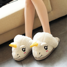 Free Shipping Plush Shoes 1Pair Plush Unicorn Slippers for Grown Ups Winter Warm Indoor Slippers Home slippers 4 color