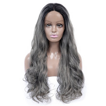 Aigemei 130% Density Loose wave Synthetic Lace Front Wigs 1B/grey Heat Resistant Wigs With Natural Part Wig for Women(China)