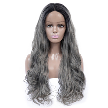 Aigemei 130% Density Loose wave Synthetic Lace Front Wigs 1B/grey Heat Resistant