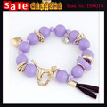 Statement Gold Plated Punk Rock Opal Crystal Beads Animal Tiger Metal Alloy Chain Heart Tassel Bangle Bracelets for Women Man