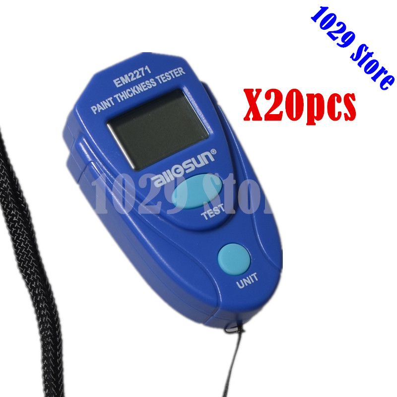 20pcs 1lot ALL SUN EM2271 Digital Thickness Gauge Coating Meter Car Paint Thickness Measurement Tester with