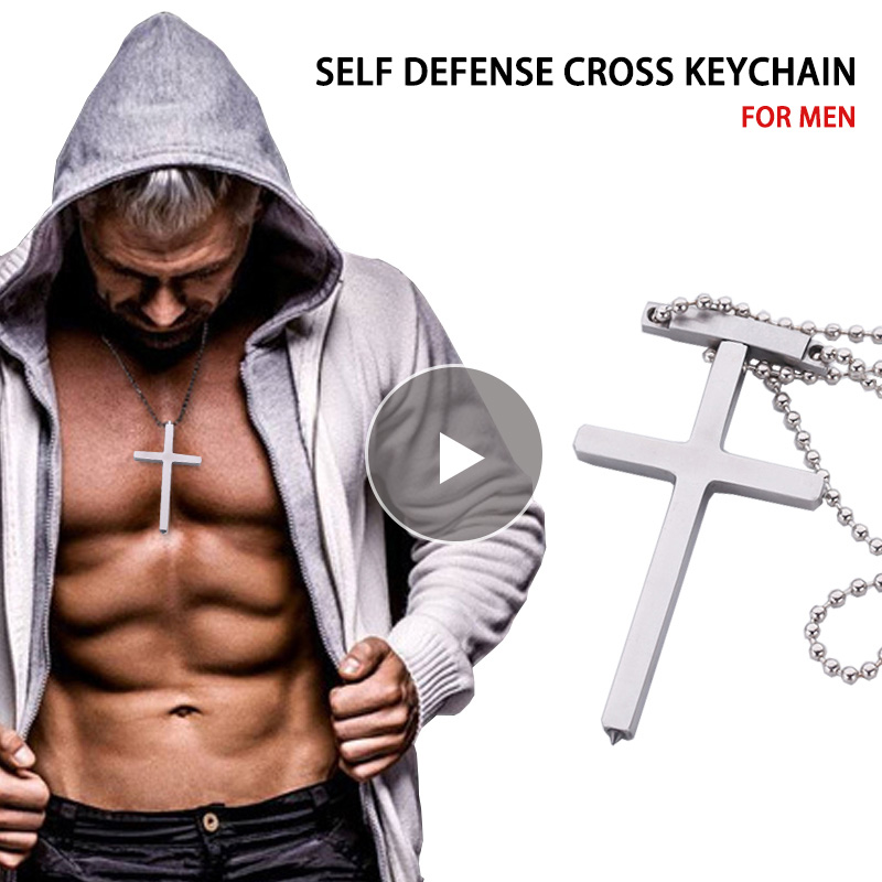 40CM Kid EDC Self Defense Cross Chain Portable Personal Tactical Defense Necklace Army Fans Window Breaker Gags Practical Jokes image