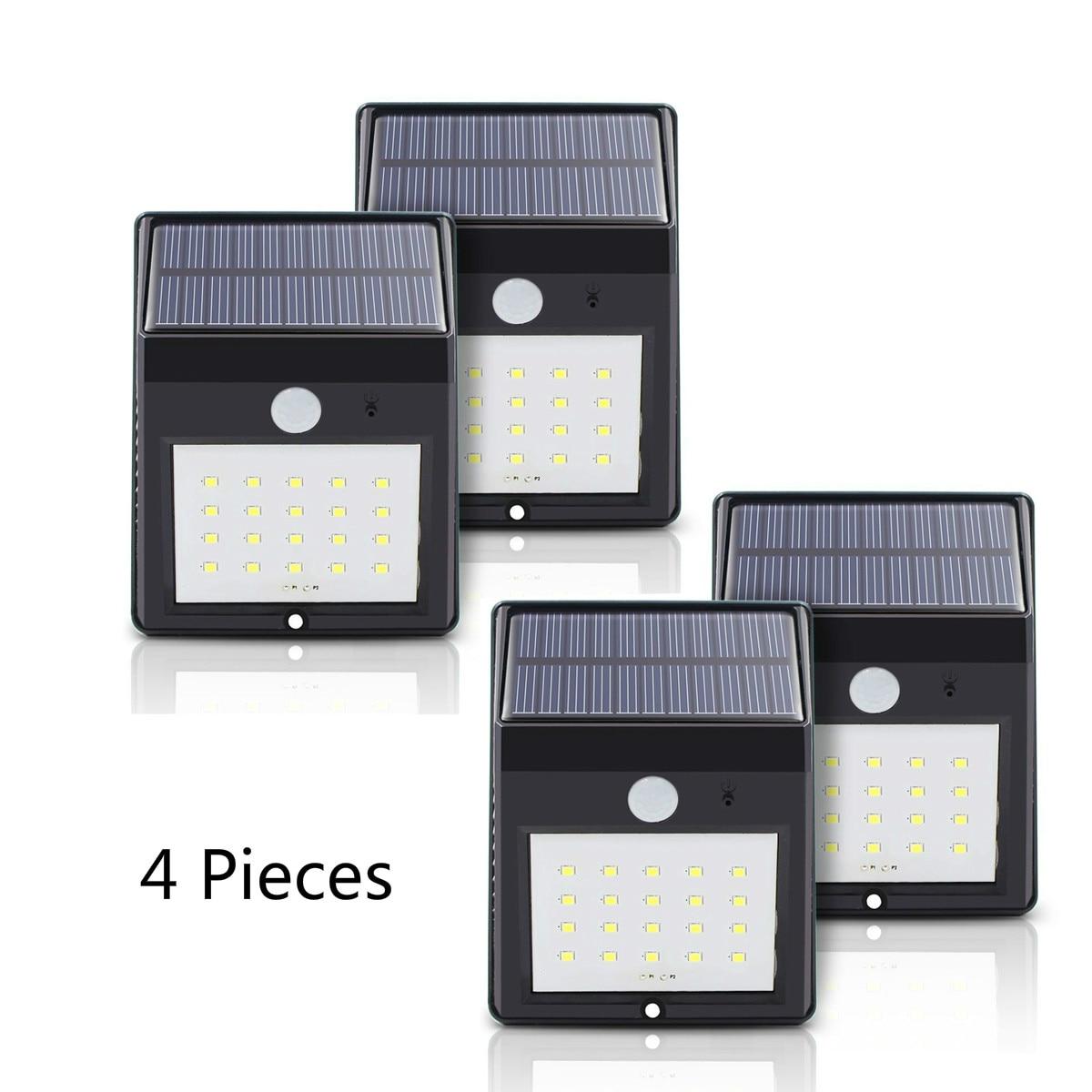 Солнечный Мощность e pir лампы Открытый 20 светодиодов движения Сенсор напольный Панели солнечные Водонепроницаемый сад стены Светодиодные лампы 4 шт.