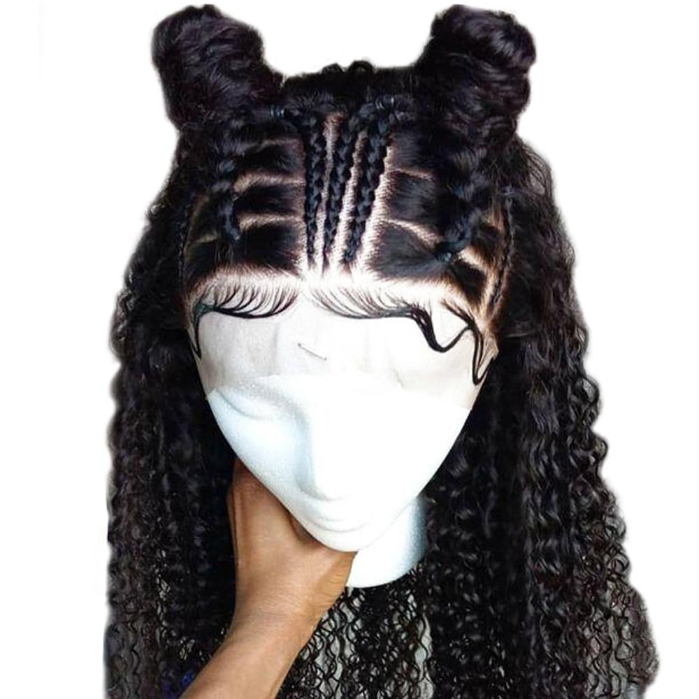 Kinky Curly Glueless Full Lace Wigs Human Hair Brazilian Remy Hair Part Anywhere Thick Ends with Baby Hair Eseewigs(China)