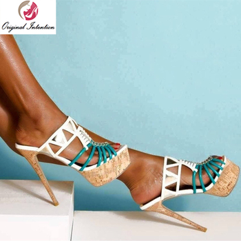 Original Intention Stylish Women Slip-on Sandals Gladiator Platform Thin High Heel Sandalia Feminina Blue&White Shoes Size 15