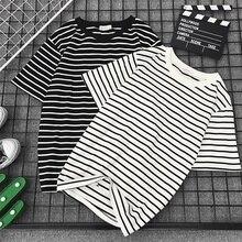 Bigsweety Women Short Sleeve T Shirt Classic Black White Striped T-shirt Women Loose T-shirt Casual