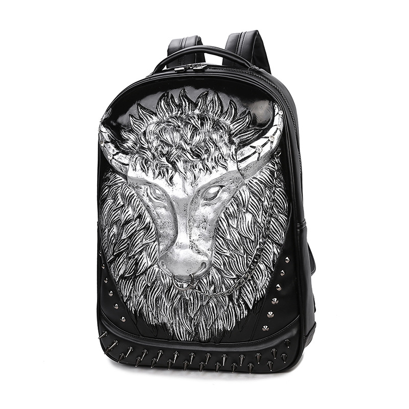a29b79ff31df Hot Underground Rock Men s Backpacks Women 3D Bull Silica Gel Rivet Leather  Shoulder School Bag High Quality Luxury Famous Brand-in Backpacks from  Luggage ...