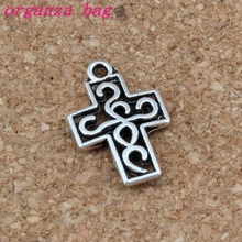 100pcs/lots Filigree Cross Charm Antique Silver religion Charms Fit Bracelets Necklace Earrings 12.5x18.8mm A-279
