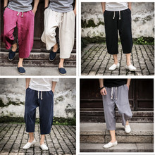 5XL Summer Men Sweatpants Casual Baggy Linen Nepal Loose Harem Bloomers Yoga Pants Running Jogger Fitness Workout Capri Pants m 5xl men yoga pants nepal linen harem loose wide leg cropped pant bloomers male running jogging casual workout pants sweatpants