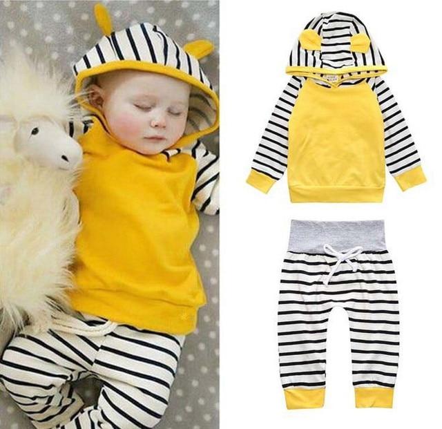 d666b82cc 2Pcs set Infant Newborn Baby Boy Clothes Girls Hooded Tops T shirt ...