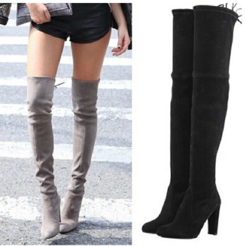 Online Get Cheap Gray Suede Thigh High Boots -Aliexpress.com ...