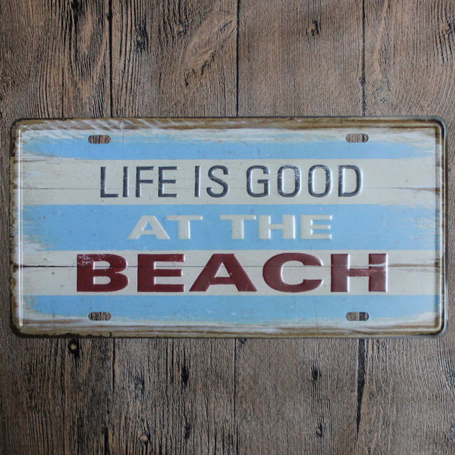 Life Is Good At The Beach Retro Style Metal Wall Art Sign From ...