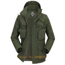 c4b9cceca0e 2018 AFS Военный джип куртка Для мужчин Мульти-карманы Hat   рукава Съемная  Водонепроницаемый куртка осень мужская верхняя одежд.