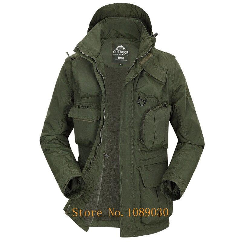 2018 AFS JEEP veste militaire hommes multi-poches chapeau et manches détachable imperméable veste automne vêtement d'extérieur pour homme coupe-vent