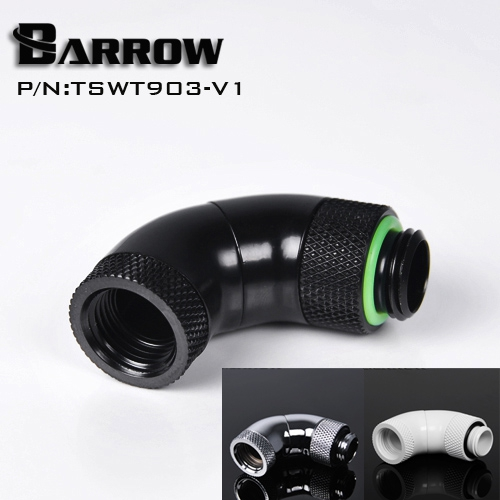 Barrow G1/4 White Black Silver Three Rotary 90-Degree 360 degree rotatable IG1/4 Extender water cooling fittings TSWT903-V1 barrow white black red g1 4 3 8od x 5 8od 10 x 16mm tubing hand compression fittings water cooling fitting