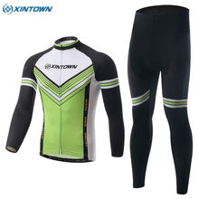 XINTOWN Men Ropa Ciclismo Long Sleeve Cycling Jersey Outdoor Fits Bike Clothing Green Sports Wear Tops Bib Pants S-4XL
