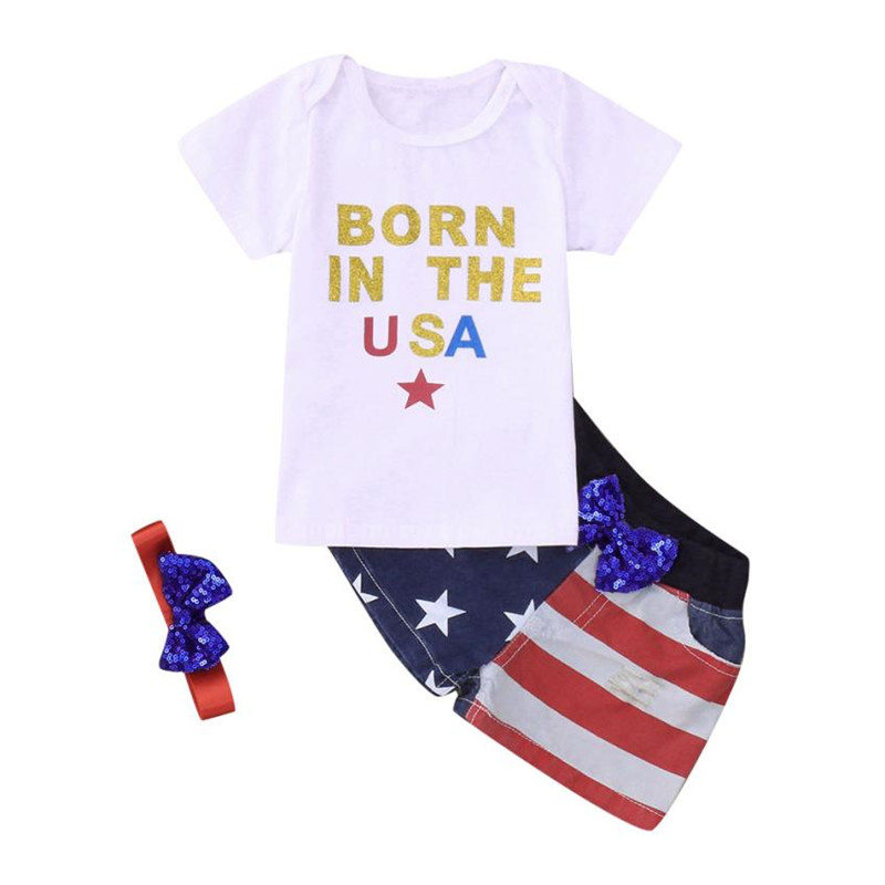 ARLONEET Baby Clohtes Girls&Boys Letter 4th Of July Star T-shirt+Denim Shorts Outfit Set Boy 1 to 4 Years Drop Shipping 30S528 ...