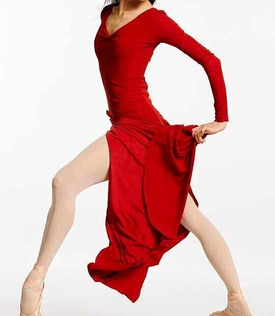 Rode Lange Jurk.Vrouw Rode Lange Split Dans Jurk Lange Mouw Lyrical Kostuum Jurk
