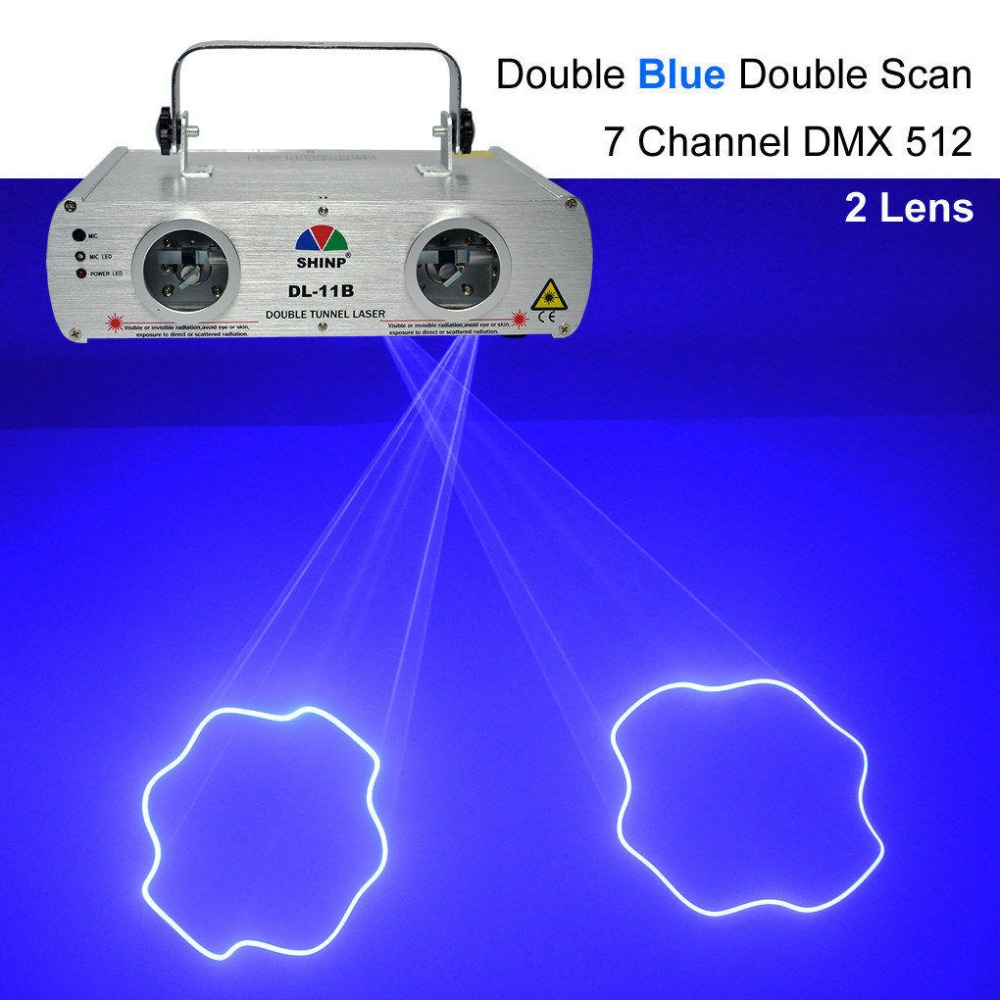 SHINP DMX 7CH 2 Lens Blue Laser Lights Beam Master-Slave Party DJ KTV Home Projector Bar Stage Lighting DL-11B aucd 2 lens red blue rb beam pattern laser light dmx 7ch pro dj party club bar ktv holiday wedding stage lighting dj 506rgb